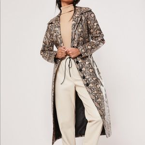 Long Snakeskin Printed Belted Trench Coat Small